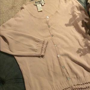 Joseph A Tan  with ruffle design on trim cardigan